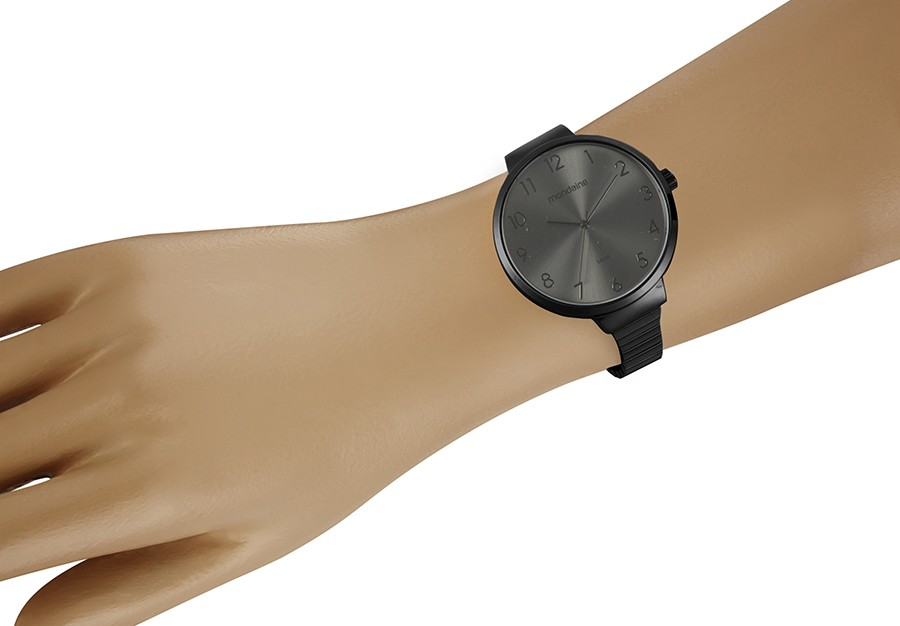 Relógio Feminino Mondaine Pulseira de Aço Inoxidável Preto Fundo Cinza 32116LPMVPE4
