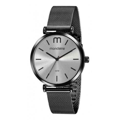 Relógio Feminino Mondaine Pulseira de Aço Inoxidável Preto Fundo Cinza 53780LPMVPE3