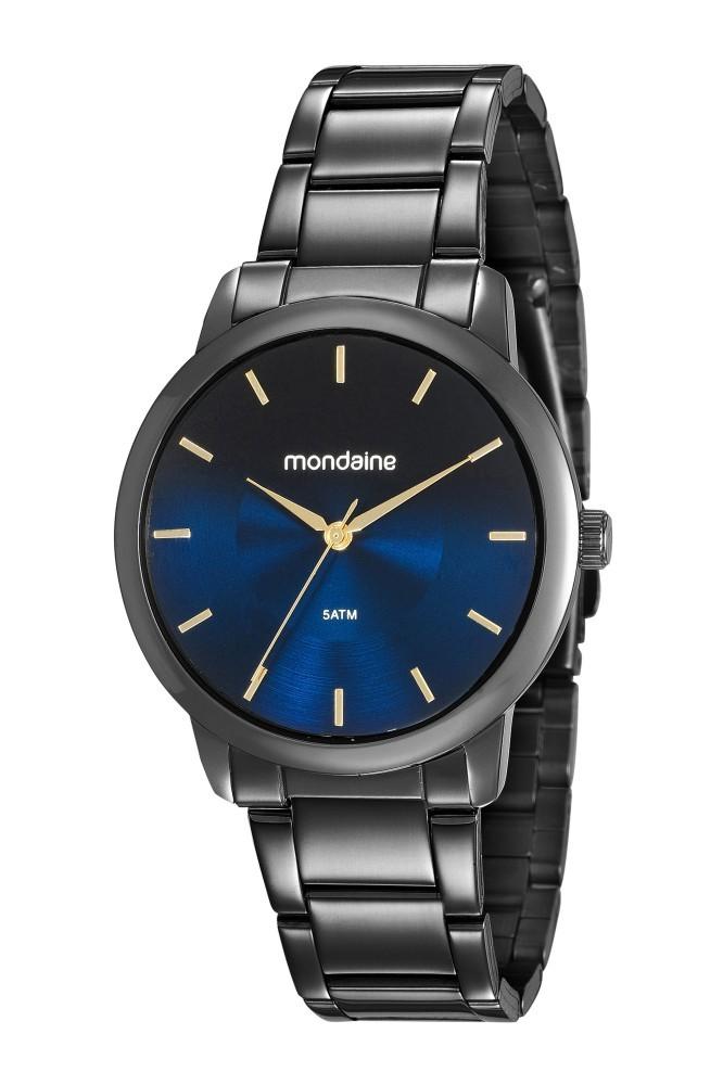 Relógio Feminino Mondaine Pulseira de Aço Inoxidável Preto Fundo Preto 53606LPMVPE5