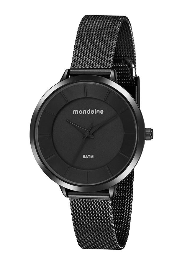 Relógio Feminino Mondaine Pulseira de Aço Inoxidável Preto Fundo Preto 76748LPMVPE2