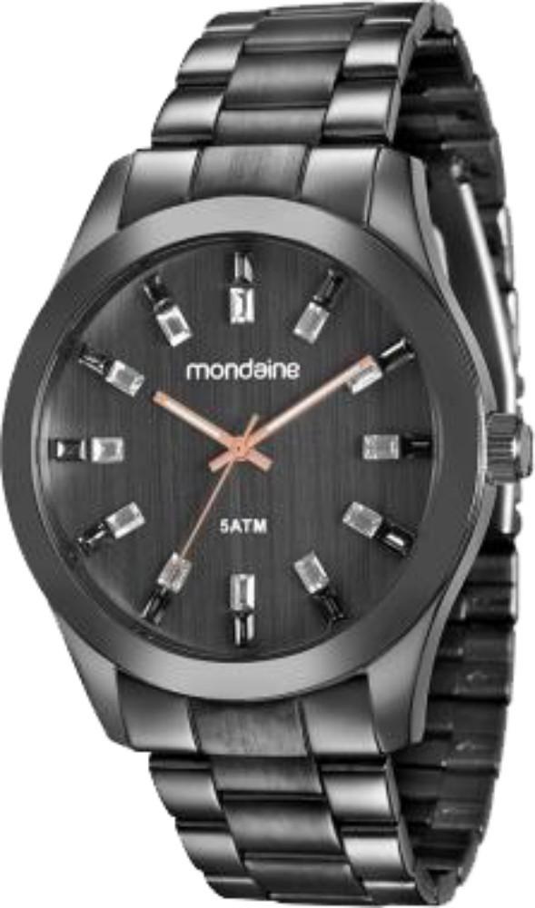Relógio Feminino Mondaine Pulseira de Aço Inoxidável Preto Fundo Preto 78663LPMVPA5