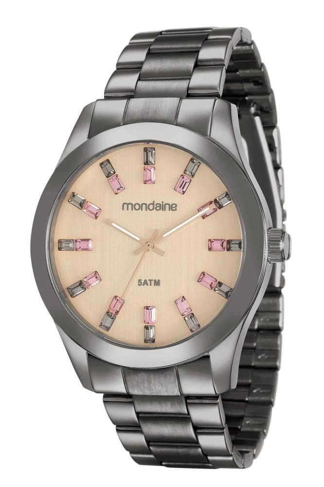 Relógio Feminino Mondaine Pulseira de Aço Inoxidável Preto Fundo Rosa 78663LPMVSA8