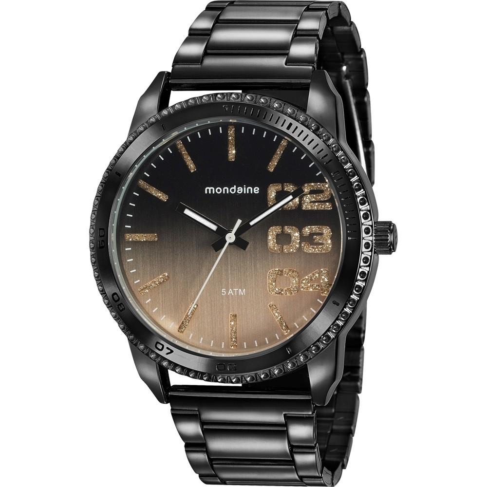 Relógio Feminino Mondaine Pulseira de Aço Inoxidável Preto Fundo Rose Gold 76725LPMVPE1
