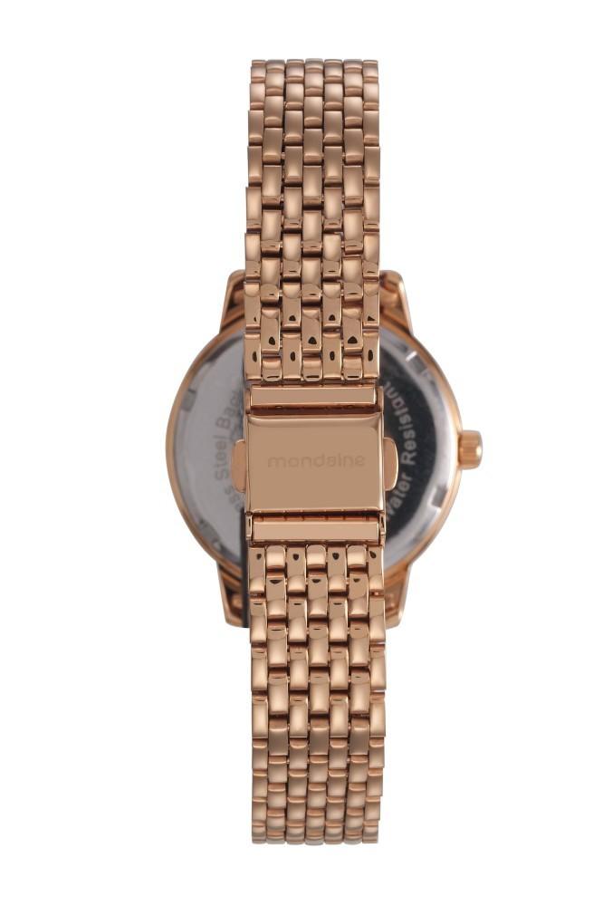 Relógio Feminino Mondaine Pulseira de Aço Inoxidável Rose Gold Fundo Bege 53615LPMVRE3