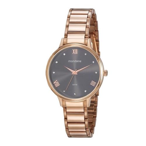 Relógio Feminino Mondaine Pulseira de Aço Inoxidável Rose Gold Fundo Cinza