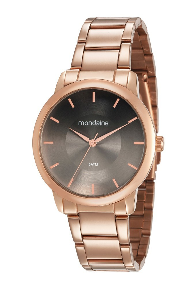 Relógio Feminino Mondaine Pulseira de Aço Inoxidável Rose Gold Fundo Cinza 53606LPMVRE4