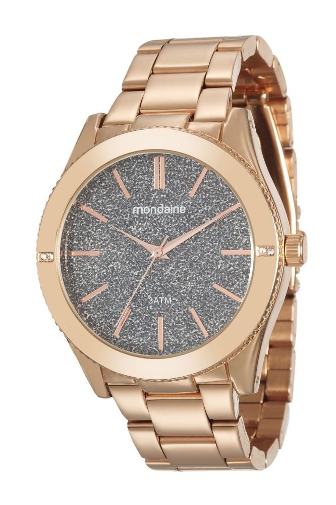 Relógio Feminino Mondaine Pulseira de Aço Inoxidável Rose Gold Fundo Preto 76696LPMVRE2