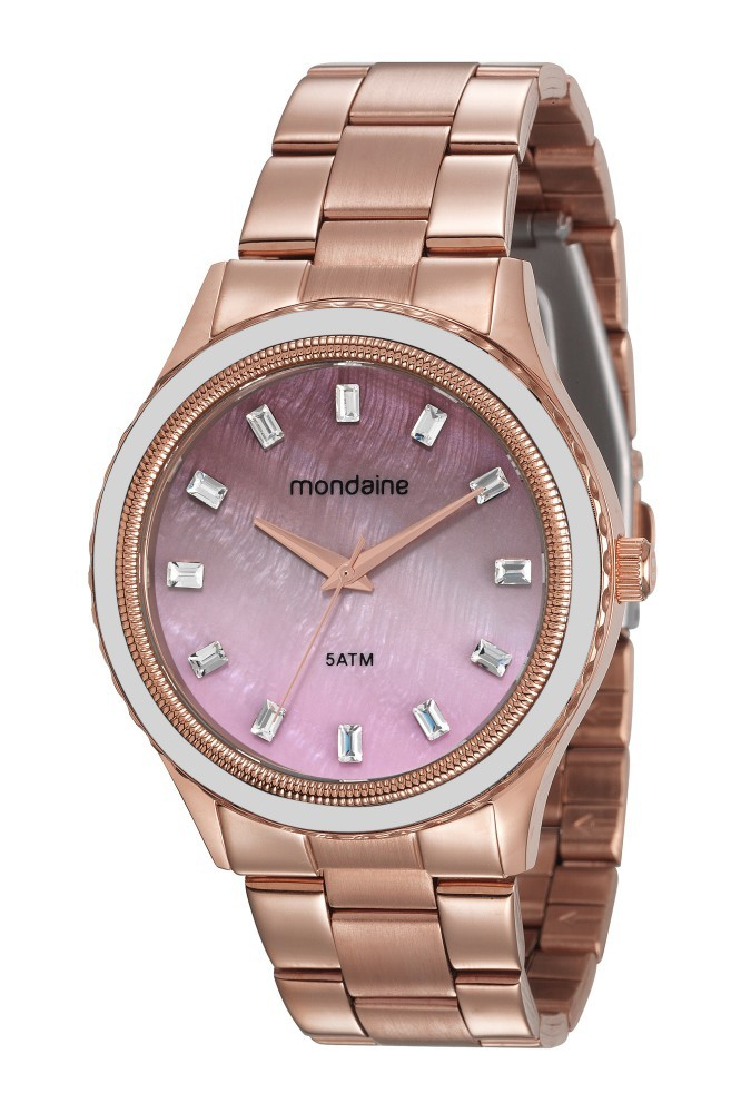 Relógio Feminino Mondaine Pulseira de Aço Inoxidável Rose Gold Fundo Rosa