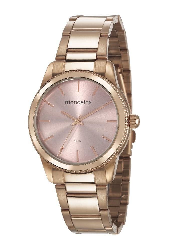 Relógio Feminino Mondaine Pulseira de Aço Inoxidável Rose Gold Fundo Rose Gold