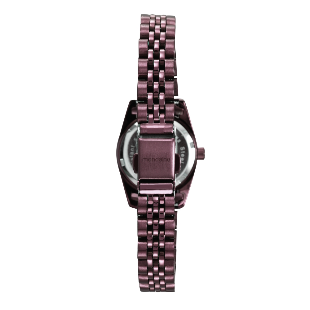 Relógio Feminino Mondaine Pulseira de Aço Inoxidável Vermelho Fundo Rosa 99169LPMVYS2