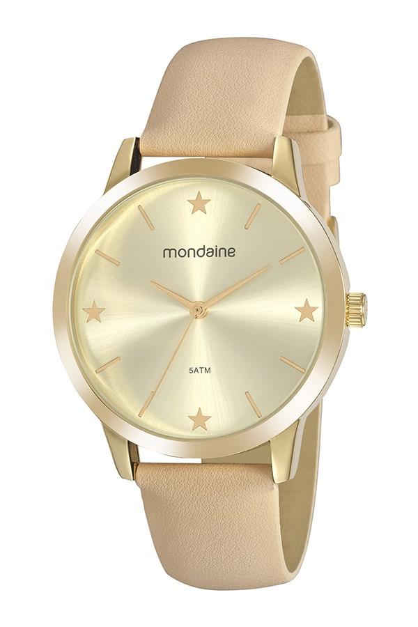 Relógio Feminino Mondaine Pulseira de Couro Sintético Bege Fundo Champanhe