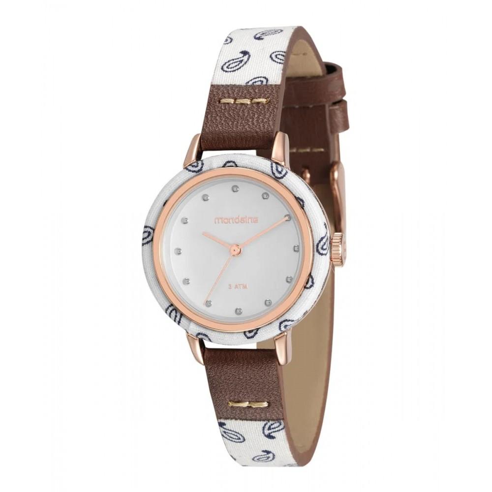 Relógio Feminino Mondaine Pulseira de Couro Sintético Marrom Fundo Branco 89003LPMVRH2