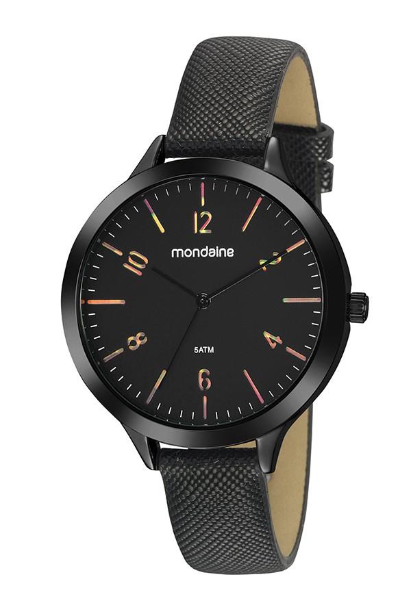 Relógio Feminino Mondaine Pulseira de Couro Sintético Preto Fundo Preto 32142LPMVPH1