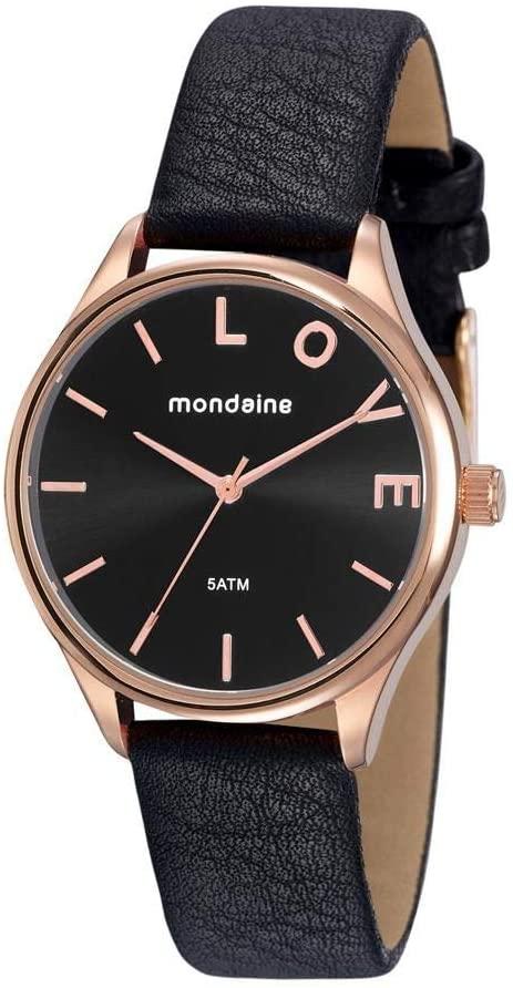 Relógio Feminino Mondaine Pulseira de Couro Sintético Preto Fundo Preto