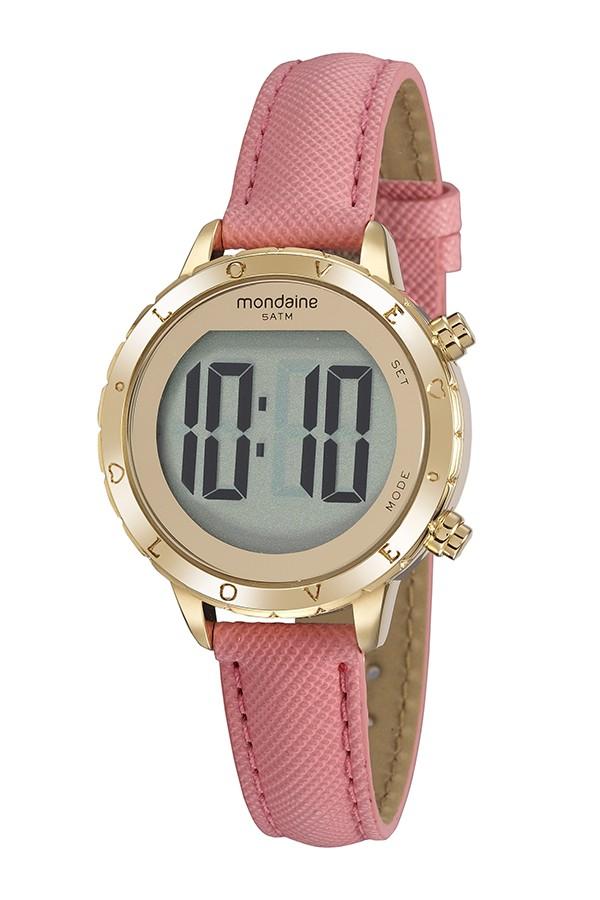 Relógio Feminino Mondaine Pulseira de Couro Sintético Rosa Fundo Lcd Positivo