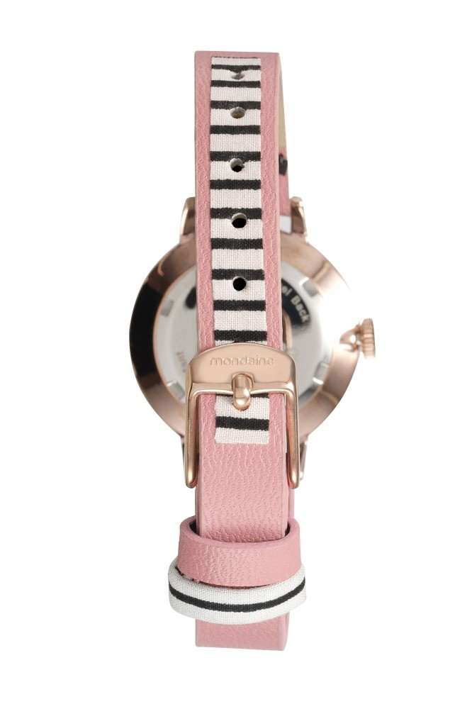 Relógio Feminino Mondaine Pulseira de Couro Sintético Rosa Fundo Prata 89004LPMVRH2