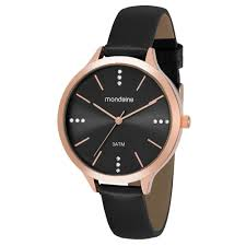 Relógio Feminino Mondaine Pulseira de Couro Sintético Rose Gold Fundo Preto 53589LPMGRH3