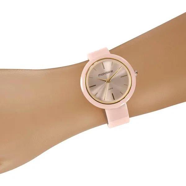 Relógio Feminino Mondaine Pulseira de Resina Branco Fundo Rosa