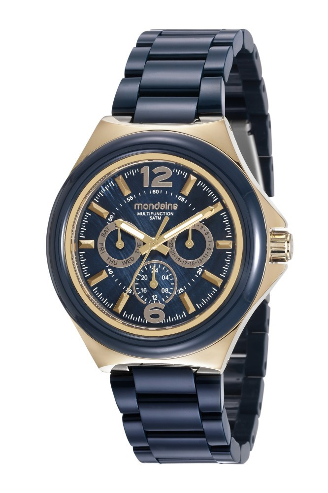 Relógio Feminino Mondaine Pulseira de Resina Dourado Fundo Azul 99331LPMVDF2
