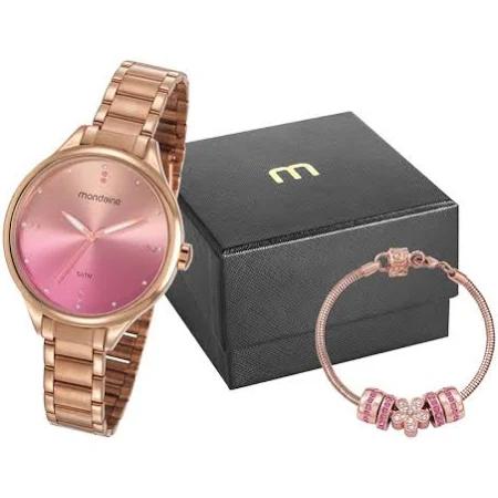 Relógio Feminino Mondaine Rosé 32101LPMKRE2K1e Pulseira com Berloques