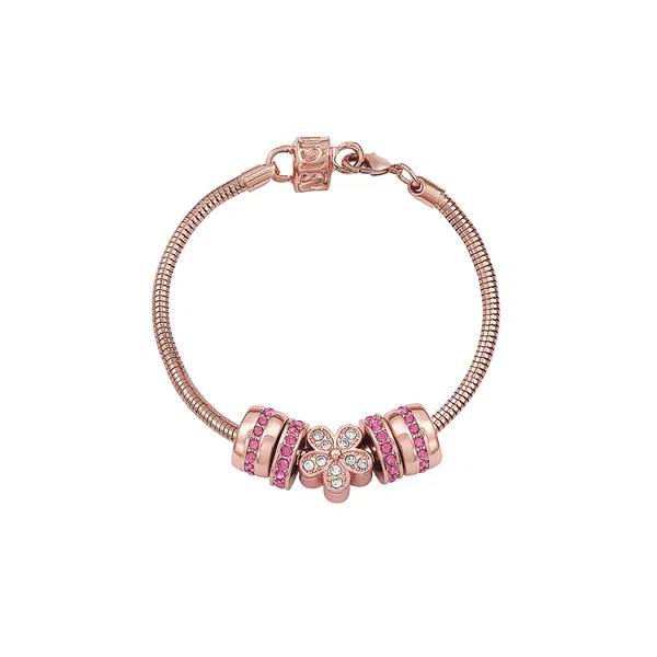 Kit Relógio Feminino Mondaine Pulseira de Aço Inoxidável Rose Gold Fundo Rosa e Pulseira Berloque