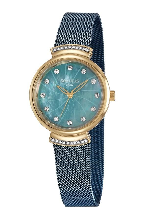 Relógio Feminino Seculus Pulseira de Aço Azul Fundo Azul 13034LPSVLS3