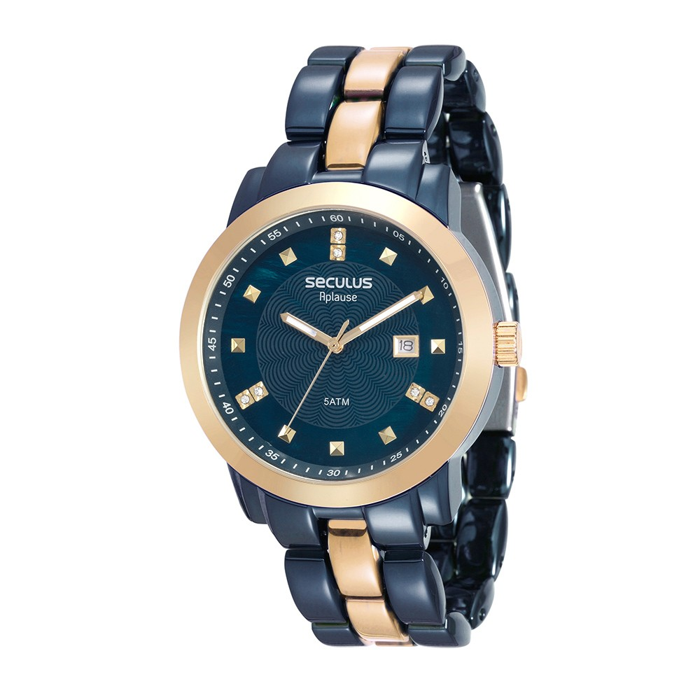 Relógio Feminino Seculus Pulseira de Aço Azul Fundo Azul 20422LPSVLA4