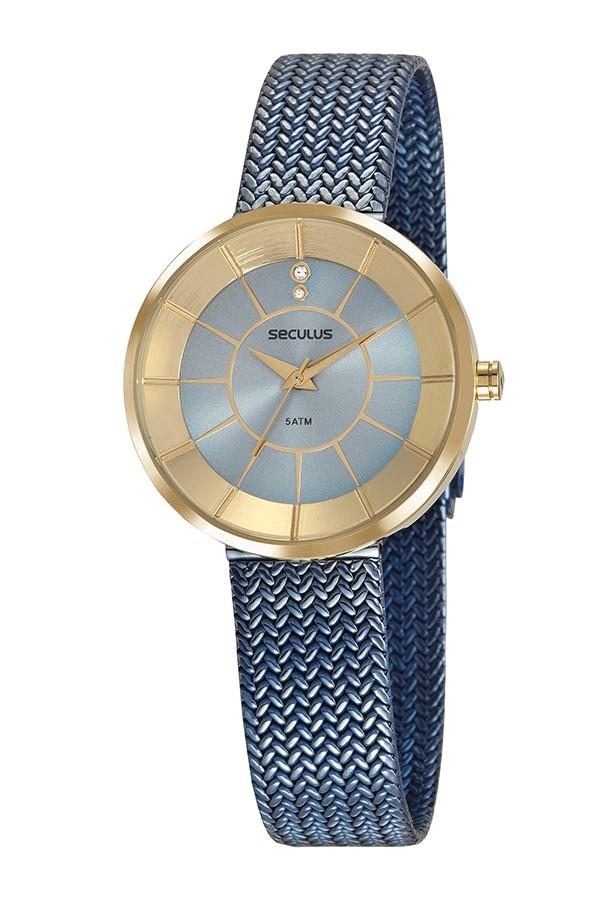 Relógio Feminino Seculus Pulseira de Aço Azul Fundo Azul 23681LPSVLS2