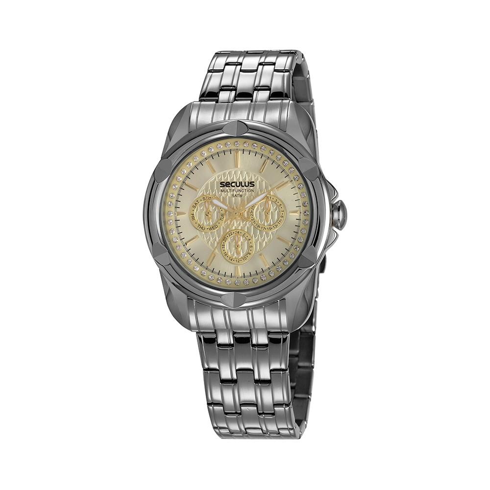 Relógio Feminino Seculus Pulseira de Aço Chumbo Fundo Champagne 20626LPSVSS3