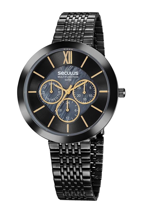 Relógio Feminino Seculus Pulseira de Aço Chumbo Fundo Cinza 20541LPSVSS5