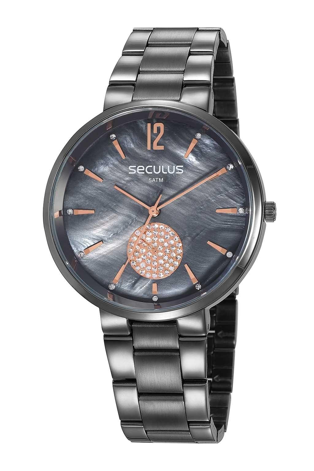 Relógio Feminino Seculus Pulseira de Aço Chumbo Fundo Cinza 77022LPSVSS3