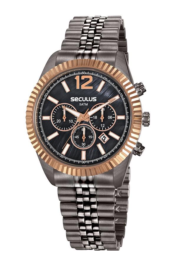 Relógio Feminino Seculus Pulseira de Aço Chumbo Fundo Preto 20778LPSVSS3
