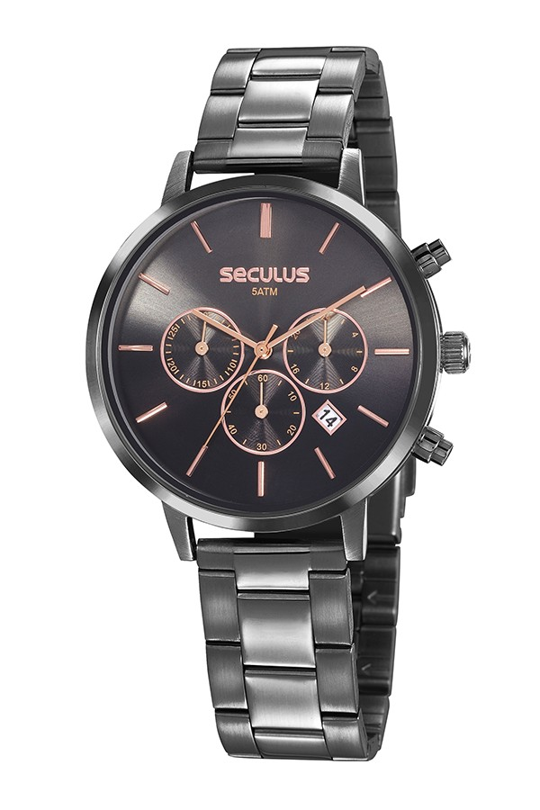 Relógio Feminino Seculus Pulseira de Aço Chumbo Fundo Preto 20783LPSVSS2