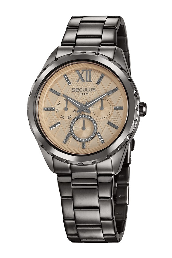 Relógio Feminino Seculus Pulseira de Aço Chumbo Fundo Rose Gold 35004LPSVSS2