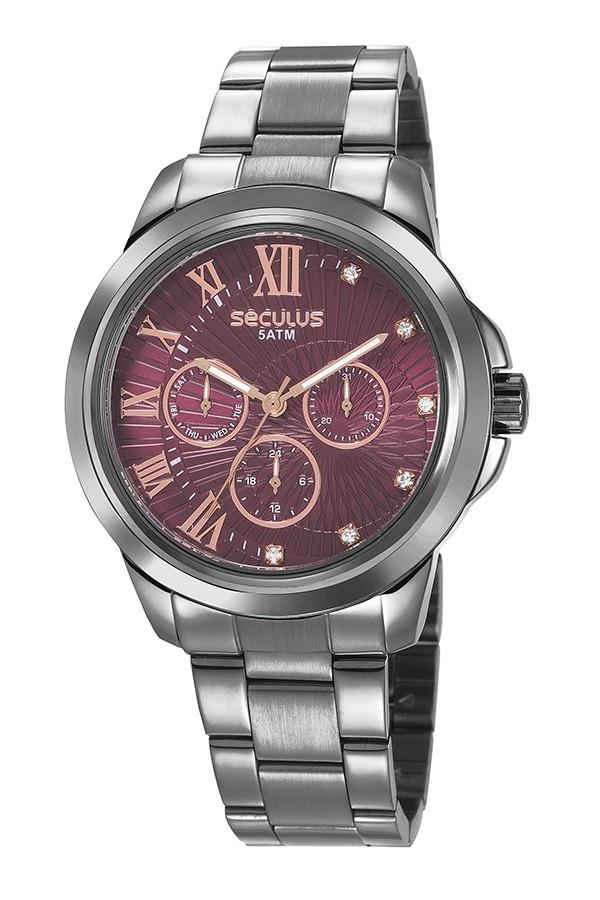 Relógio Feminino Seculus Pulseira de Aço Chumbo Fundo Roxo 28970LPSVSS2