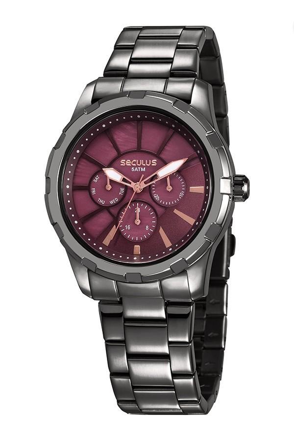 Relógio Feminino Seculus Pulseira de Aço Chumbo Fundo Vermelho 35003LPSVSS2