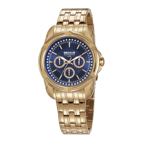 Relógio Feminino Seculus Pulseira de Aço Dourada Fundo Azul 20626LPSVDS1