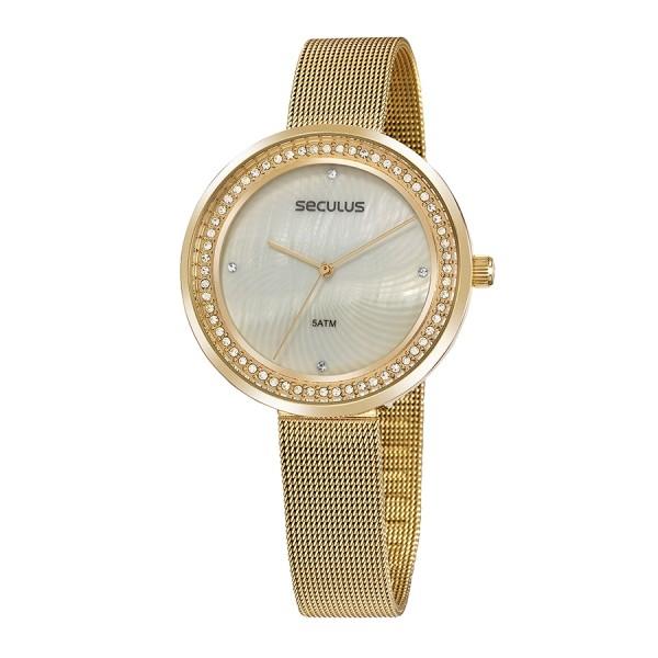 Relógio Feminino Seculus Pulseira de Aço Dourada Fundo Branco