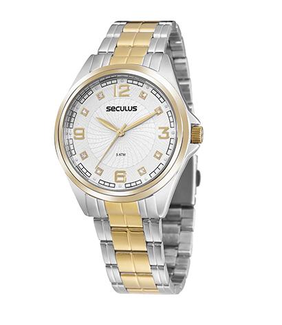Relógio Feminino Seculus Pulseira de Aço Dourada Fundo Champagne 20936LPSVDS2