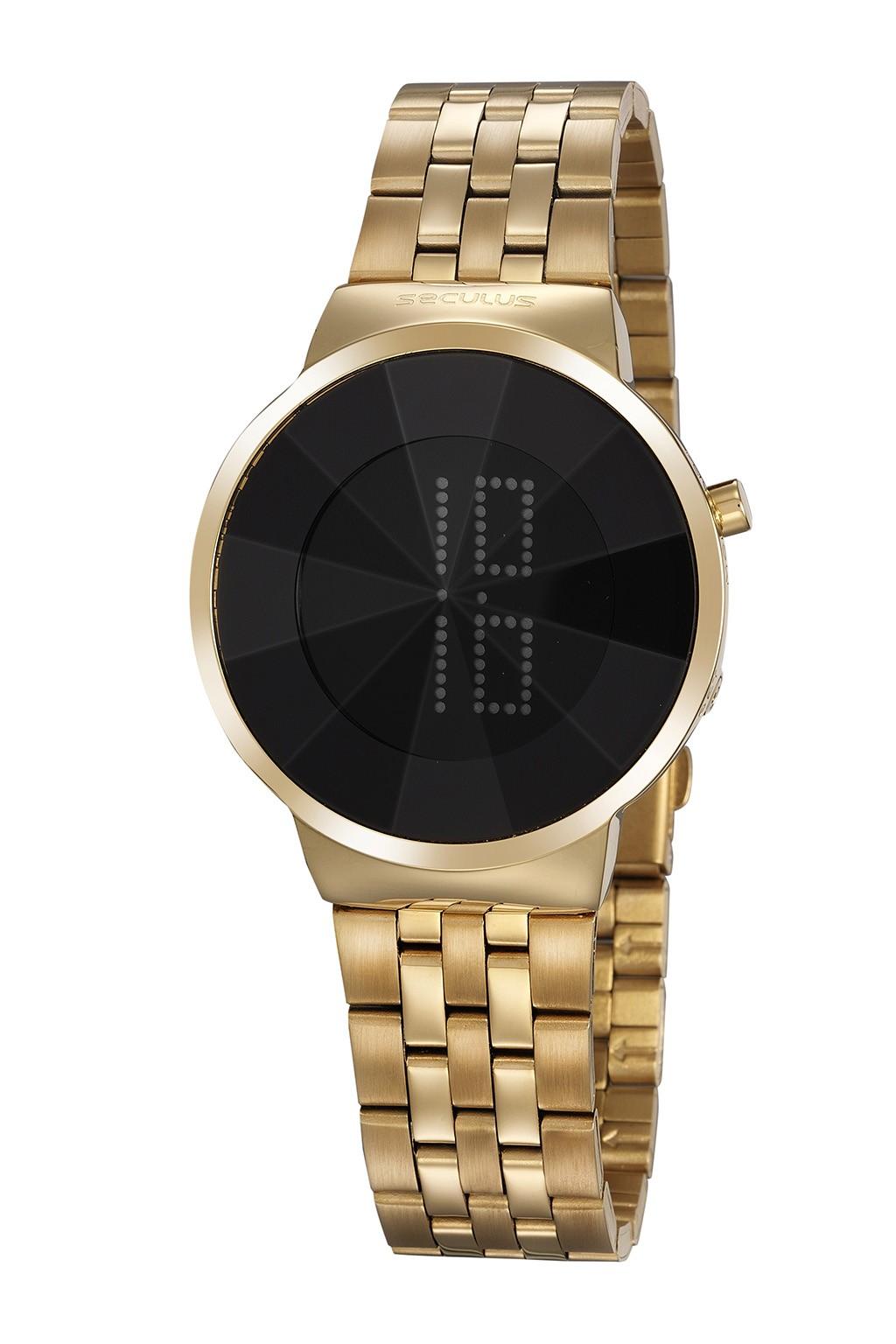 Relógio Feminino Seculus Pulseira de Aço Dourada Fundo Lcd Negativo 77062LPSVDS1
