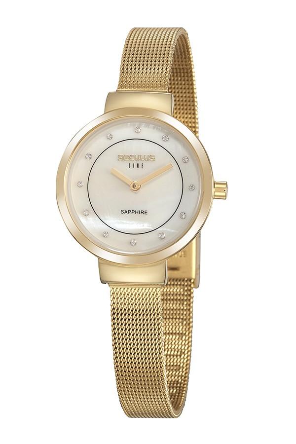 Relógio Feminino Seculus Pulseira de Aço Dourada Fundo Madreperola 20878LPSVDS1