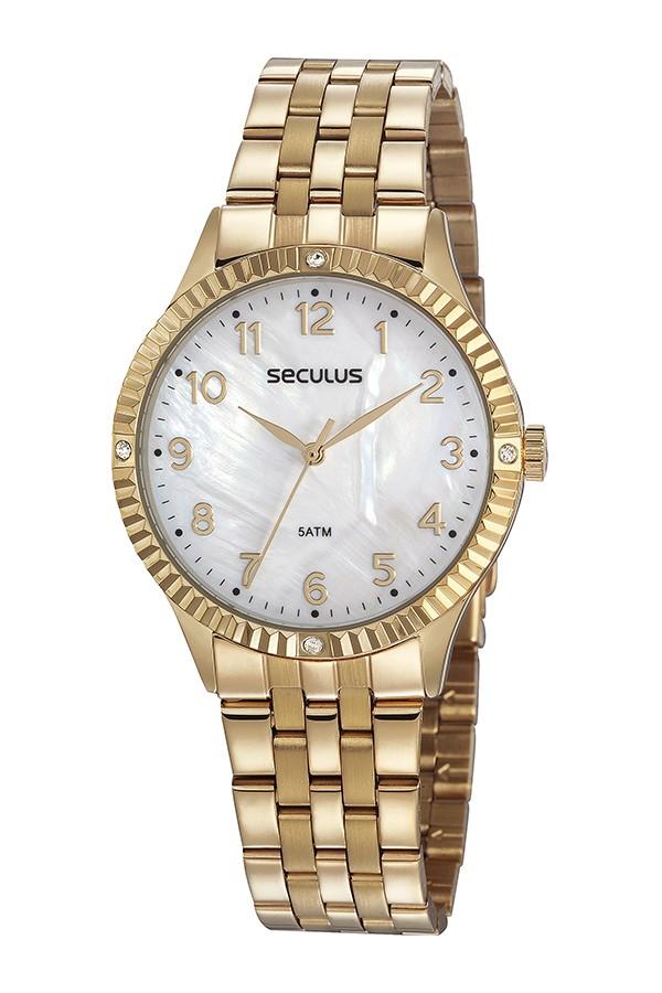 Relógio Feminino Seculus Pulseira de Aço Dourada Fundo Madreperola 77047LPSVDS2