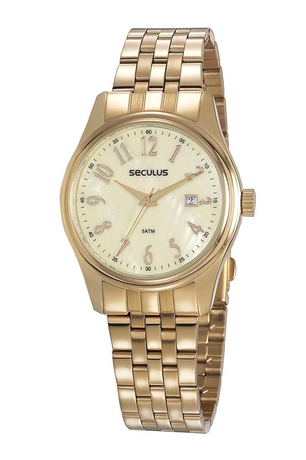 Relógio Feminino Seculus Pulseira de Aço Dourada Fundo Madreperola 77049LPSVDS2
