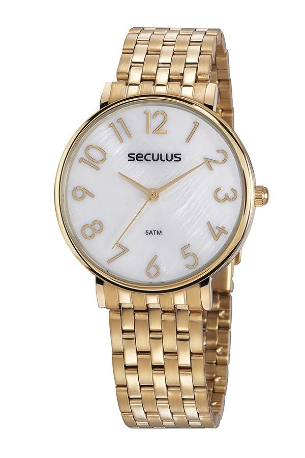 Relógio Feminino Seculus Pulseira de Aço Dourada Fundo Madreperola 77050LPSVDS1