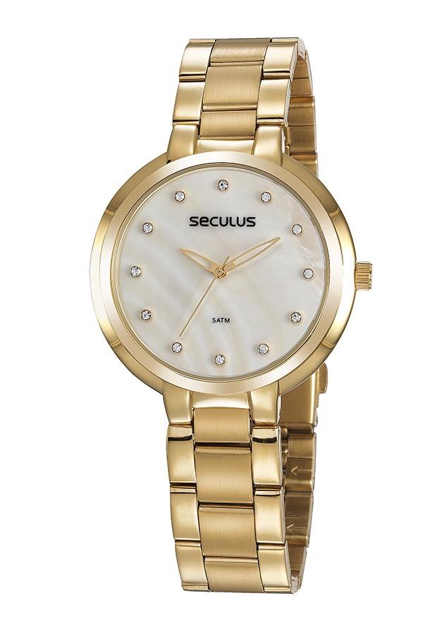 Relógio Feminino Seculus Pulseira de Aço Dourada Fundo Madreperola 77052LPSVDS1