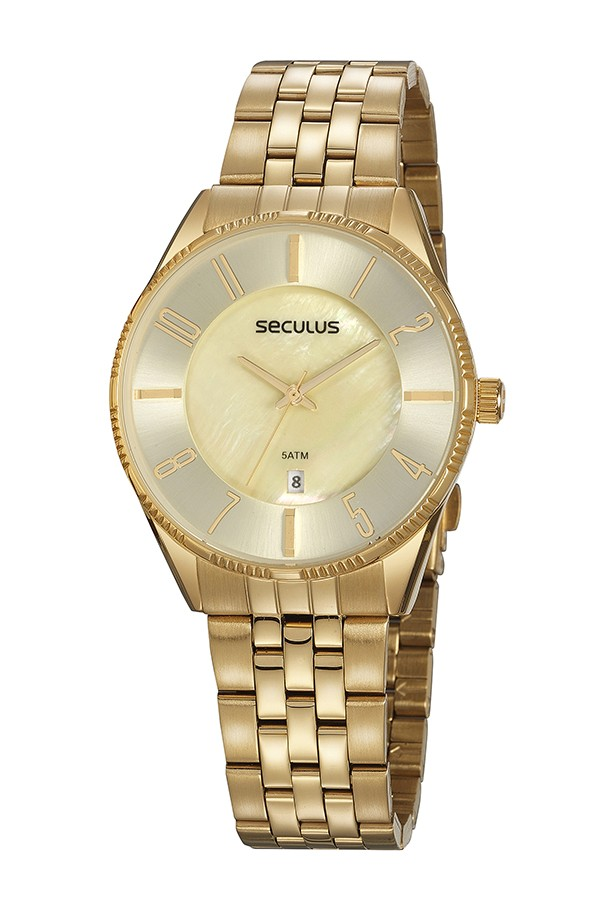 Relógio Feminino Seculus Pulseira de Aço Dourada Fundo Madreperola