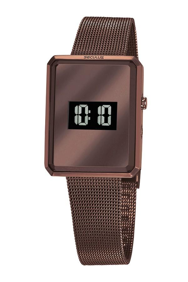 Relógio Feminino Seculus Pulseira de Aço Marrom Fundo Lcd Negativo 77061LPSVMS3