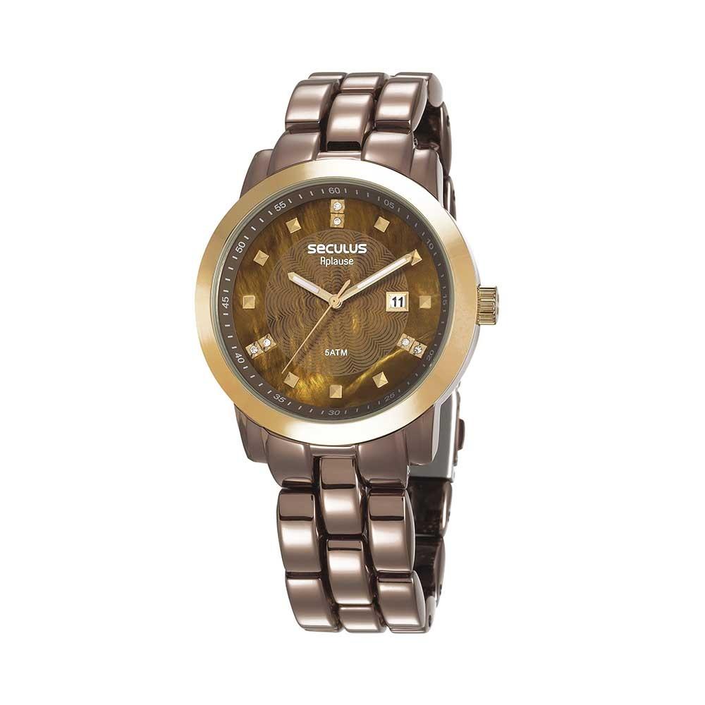 Relógio Feminino Seculus Pulseira de Aço Marrom Fundo Marrom