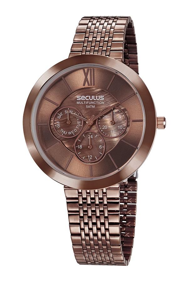 Relógio Feminino Seculus Pulseira de Aço Marrom Fundo Marrom 20541LPSVMS6