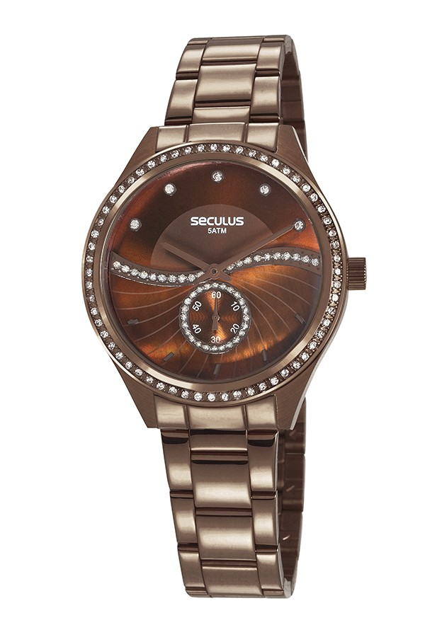 Relógio Feminino Seculus Pulseira de Aço Marrom Fundo Marrom 20612LPSVMS3